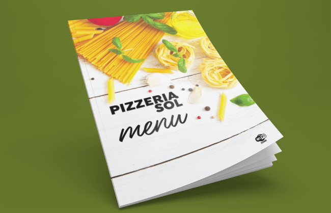 Impressão menu pizzeria