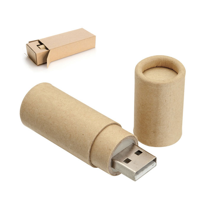 Memória USB 16Gb. Cartão Reciclado. Apresentação Individual. 6.7 x Ø1.8cm