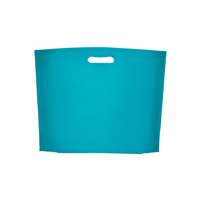 Saco termocolado em tecido não tecido polipropileno 80 g/m². Reforço na base. Corte para a pega. Dimensões 40x30x10 cm