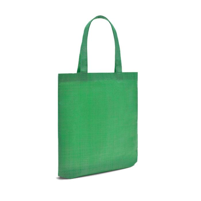 DESCRIÇÃO Saco em tecido non woven (não tecido) com efeito metalizado. Asa longa de fita da mesma cor. Asas cosidas à mão. 100% polipropileno não tecido, 70 g/m². 36 x 40 x 12 cm