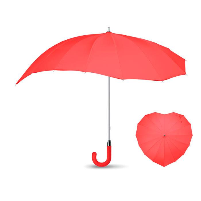 Guarda-chuva de 25 polegadas em Pongee 190T em forma de coração. Abertura manual. Estrutura fibra vidro, eixo de alumínio. Cabo curvo em EVA. 96,5 X 80 cm