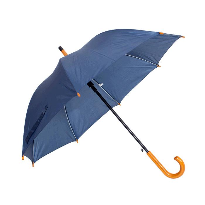 Guarda-chuva 100% Poliéster. Abertura automática. 8 varas fibra carbono. Cabo curvo madeira. Ø 1,22m