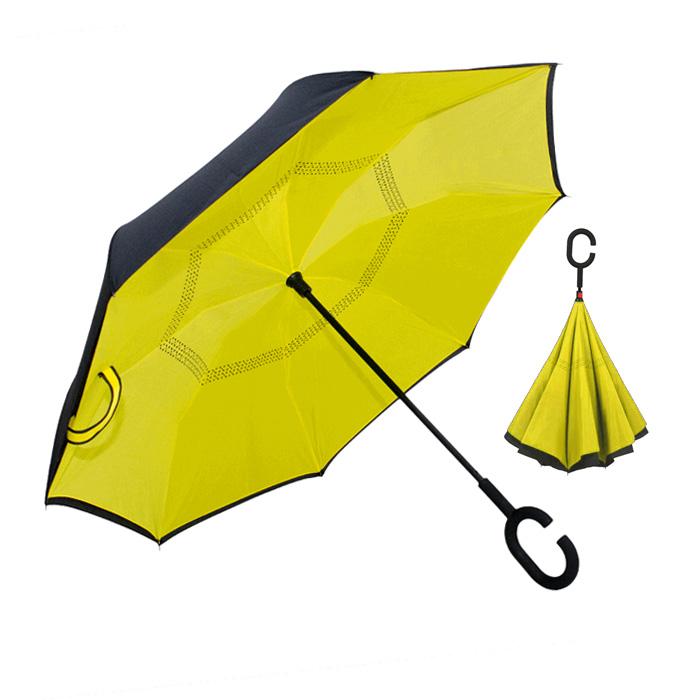 Guarda-chuva Bicolor Reversível de abertura manual. 8 varas fibra carbono. Cabo curvo aborrachado. Ø 1,14m