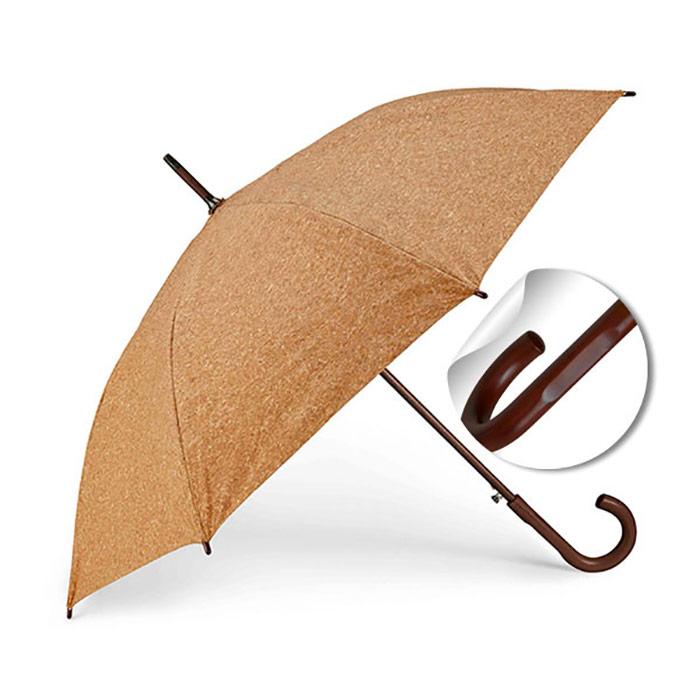 Guarda-chuva. Cortiça. Cabo e pega em madeira. Abertura automática. Produto amigo do Ambiente. ø1050 mm
