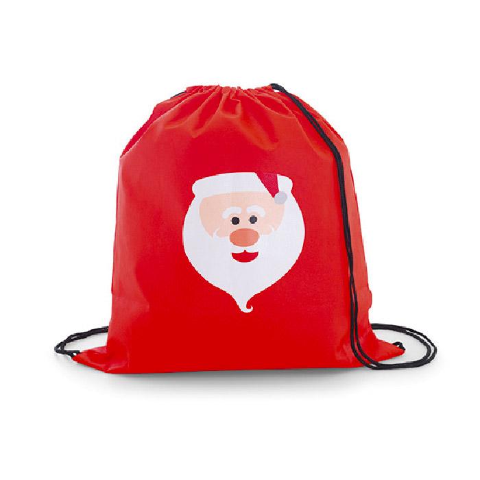 Saco tipo mochila com Pai Natal impresso. Non-woven 80 grs 300 x 350 mm