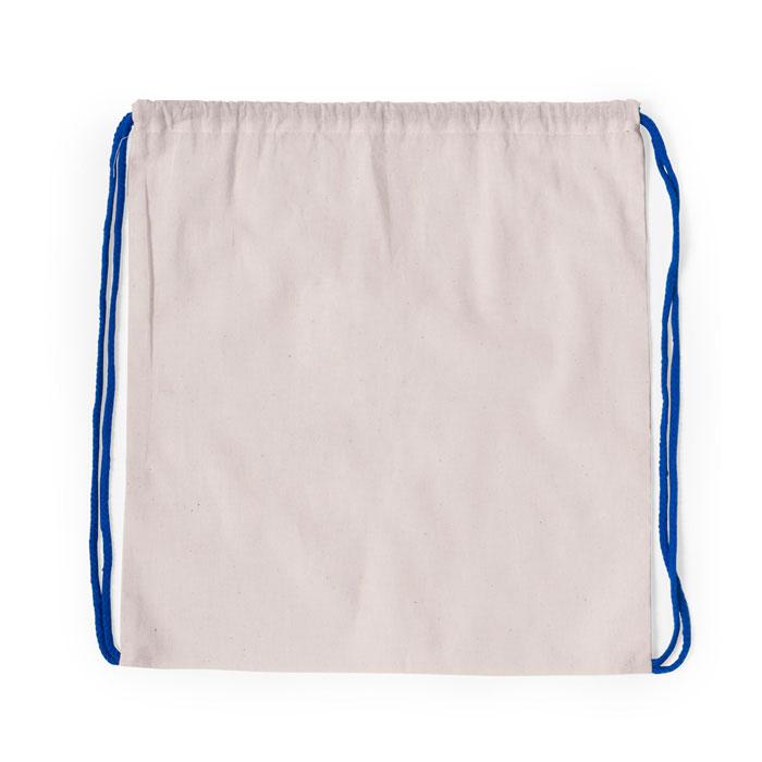 Mochila de corda 100% algodão 120g/m2. Corpo em cor natural e cordões trançados numa variedade de cores. Cantos reforçados. 37 x 41 cm