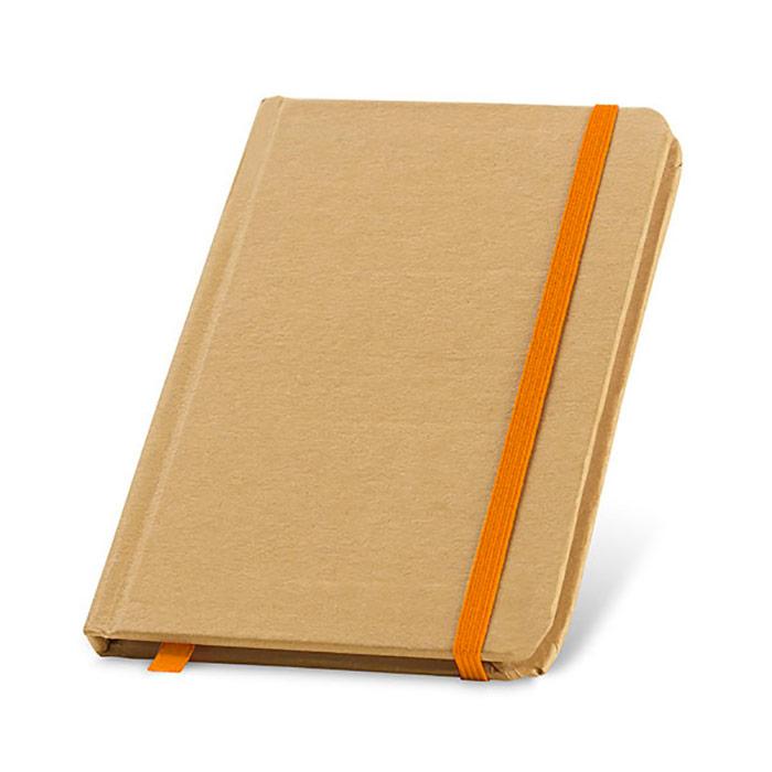 Bloco de notas. Cartão. Capa rígida. Com 80 folhas lisas de papel reciclado. Tamanho de bolso. Produto amigo do Ambiente. 100 x 140 mm
