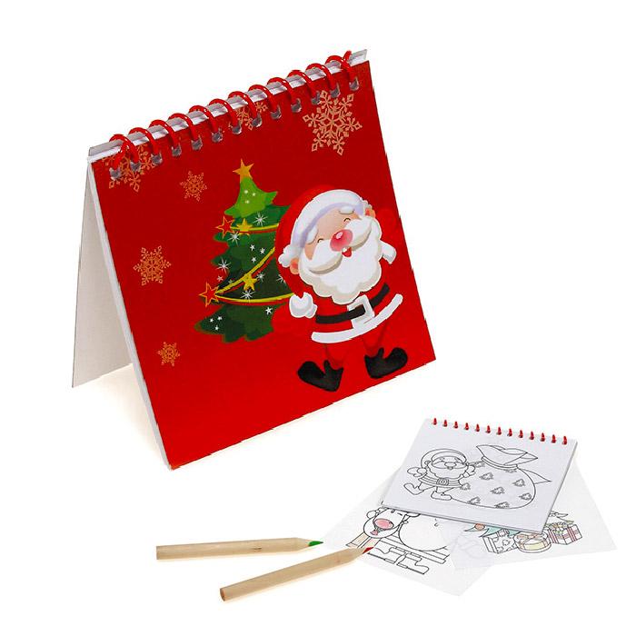 Bloco para colorir com imagens natalícias. Cartão. 25 desenhos. Lápis não incluídos. 90 x 90 mm