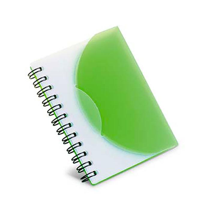 Bloco de notas em PP translúcido semi-rígido. 80 folhas lisas brancas. 78 x 108 x 7 mm