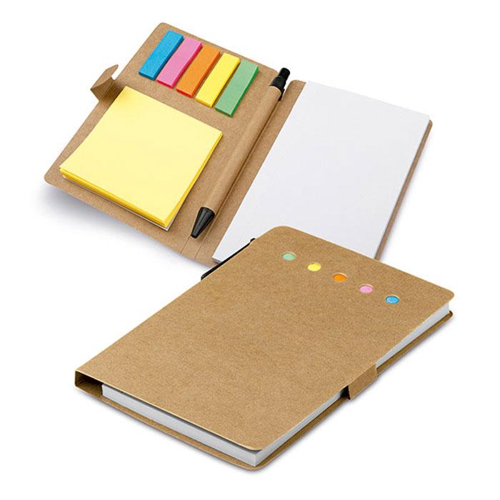 Bloco de notas adesivas. Cartão. 6 conjuntos: 25 folhas cada. Inclui bloco de notas com 50 folhas lisas e esferográfica em papel craft. 100 x 150 mm
