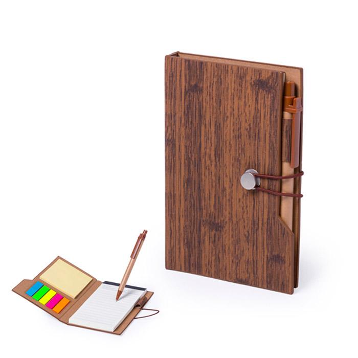 Bloco de notas adesivas. PU com efeito de madeira. Bloco com 70 folhas pautadas. 25 notas adesivas